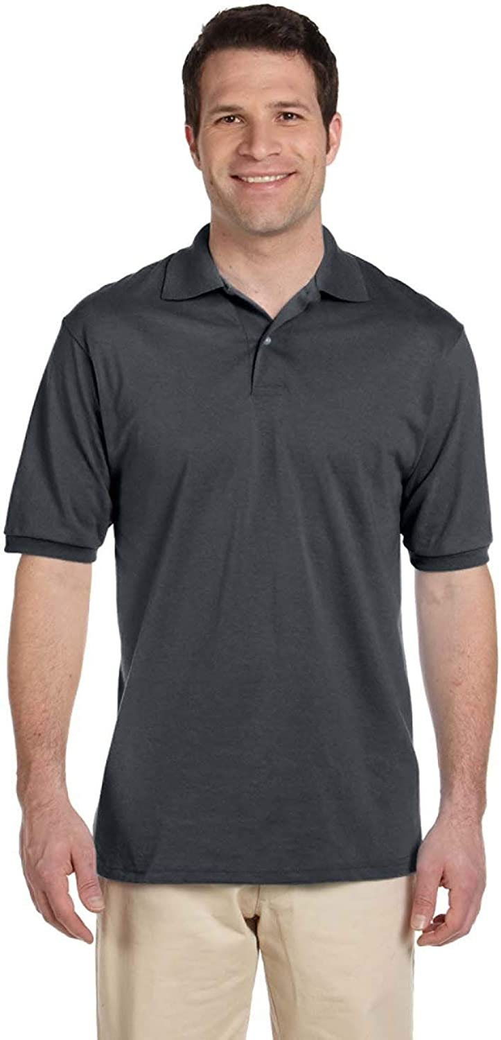 Jerzees Men's Spot Shield Short Sacramento Mall Polo Special price for a limited time Charcoa Sleeve Shirt Sport