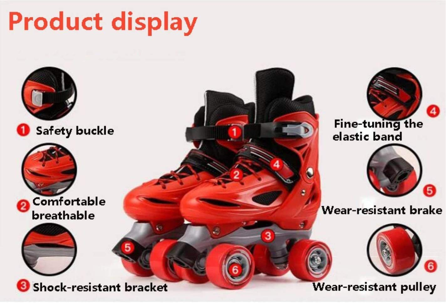 LLSZ Roller Skates Adjustable for Kids,Double Row 4 Wheel With All Wheels,Fun for Girls and Ladies (Color : Pink, Size : M)