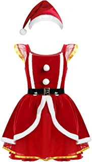Aiihoo Kids Girls Christmas Santa Flutter Mesh Sleeves Velvet Top with Pom Pom Front Hat Dress for Xmas Carnival