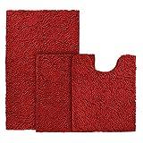 BYSURE - Juego de alfombras de baño (3 piezas, antideslizantes, extra absorbentes, felpilla lanuda y felpilla de baño, suave y seco, juego de alfombras de baño lavables