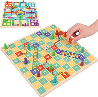 yeesport Chess Board Set 2 in 1 Fun Creative Snakes and Ladders Board Game Chess Board Kit for Kids Tabletop Chess Game fo...