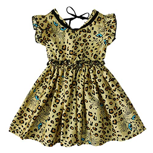 Boho Tutu Rok Korte luipaardprint ruches mouwloos casual jurk meisjes prinses feestjurk chiffon jurk zomerjurk babyjurk bruiloft feestelijk