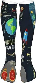 PeiZhengYuanLin-Shop, Calcetines Altos Calcetines de mujer, sistema solar de dibujos animados de calcetines Calcetín 50CM
