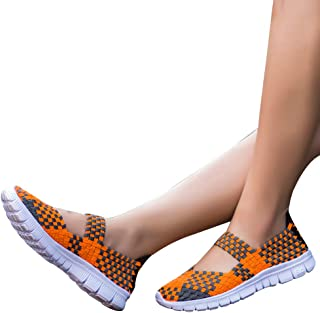 Rajendram Hand-Knitted Shoes Slip-On Sneakers Women Slip-On Light Weight Elastic Trainer Sports Water Shoes Sneakers Summer