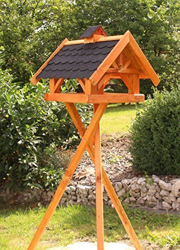 holzdekoladen Rechteckiges Vogelhaus, Vogelhäuser behandelt Typ 33 (Maxi mit Ständer, Schwarz)