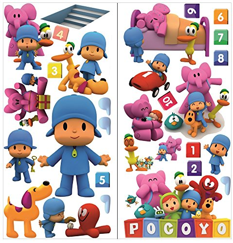 Pocoyo Wall Stickers for Bedroom Boys and Girls Wall Mural Wall Decal Art Wallpaper Sticker for Nursery Wall Art playrooms Boys Girls Pocoyo Wall Sticker decoracion Size 70cm x 35cm x 2 Sheets