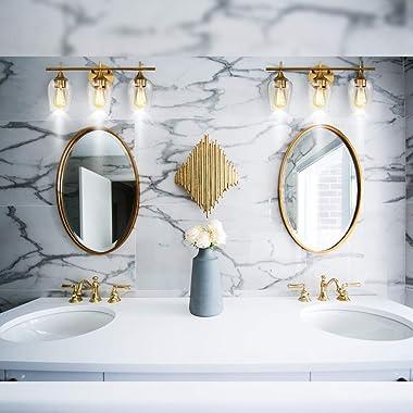 Hamilyeah Bathroom Vanity Light Fixture Over Mirror, Gold Bathroom Light Fixtures Indoor, 3 Light Vanity Lighting Champagne B