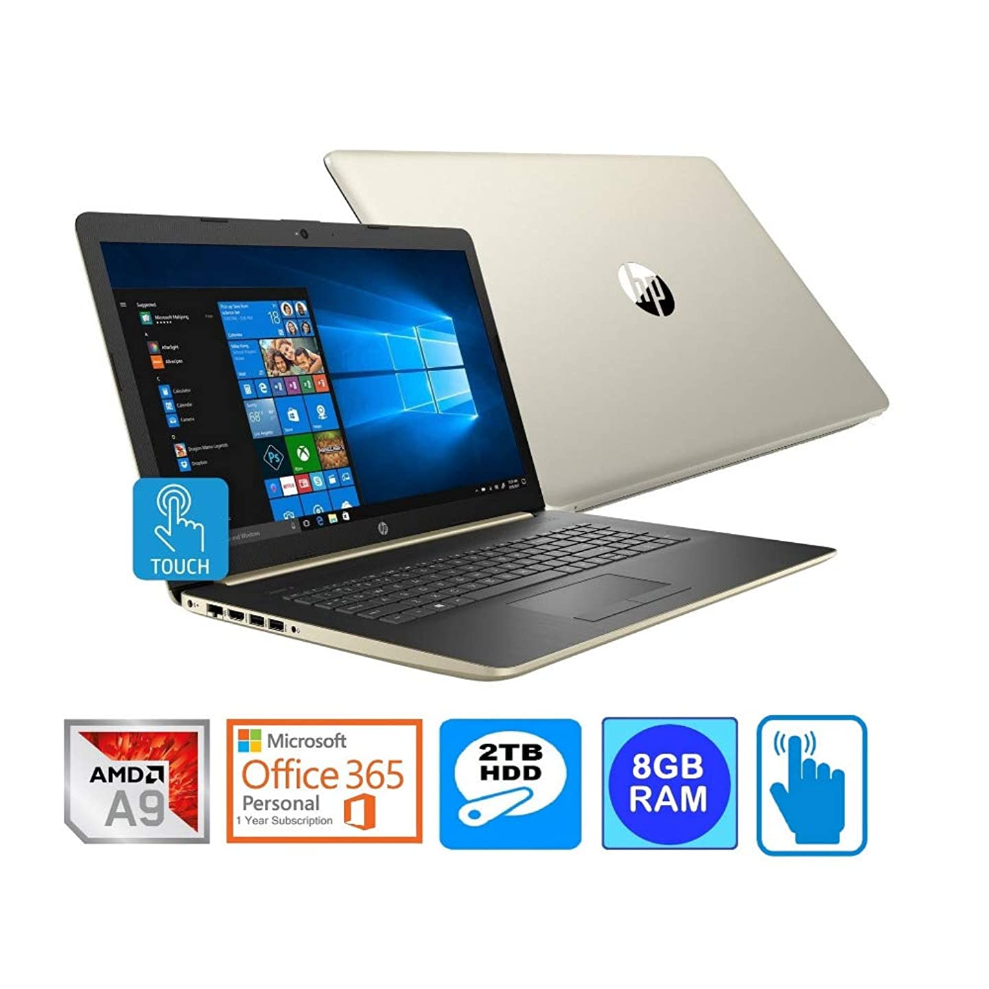 "HP Laptop 17 AMD A9-9425 8GB 2TB HDD 17.3"" HD+ Touch Screen Microsoft Office 365 1-Year (Renewed)"