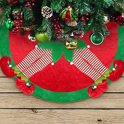 ALLYORS 48 inches Elf Christmas Tree Skirt with 4 Shiny Embroidery Legs and Pom Pom Balls. Santa Helper Elves Under Festive Tree Mat Ideas for Xmas Themed Holiday Decoration, Ornament, Gifts to Kids