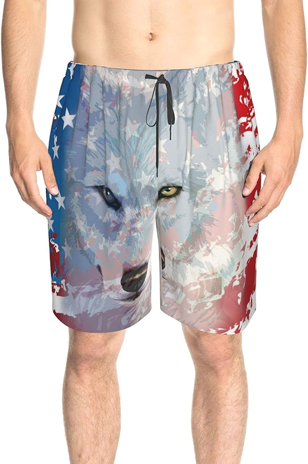 Mens Bathing Suits America Flag with Wolf Swim Boardshorts Drawstring 3D Printed Summer Beach Shorts with Pockets