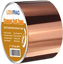 Copper Foil Tape (2inch X 33 FT) with Conductive Adhesive for Guitar and EMI Shielding, Slug Repellent, Crafts, Electrical...