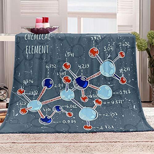 Elemento químico 3D Manta Molécula química Mantas para Sofá de Franela Suave Impresa de Cálida y Acogedora Manta de TV para niños Adultos 150x200cm