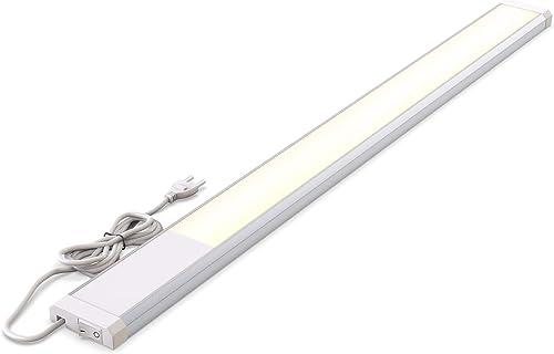 B.K.Licht réglette LED, platine LED 10W intégrée, 1100 Lumen, longueur 57,5cm, blanc chaud 3000K, IP20, éclairage cui...