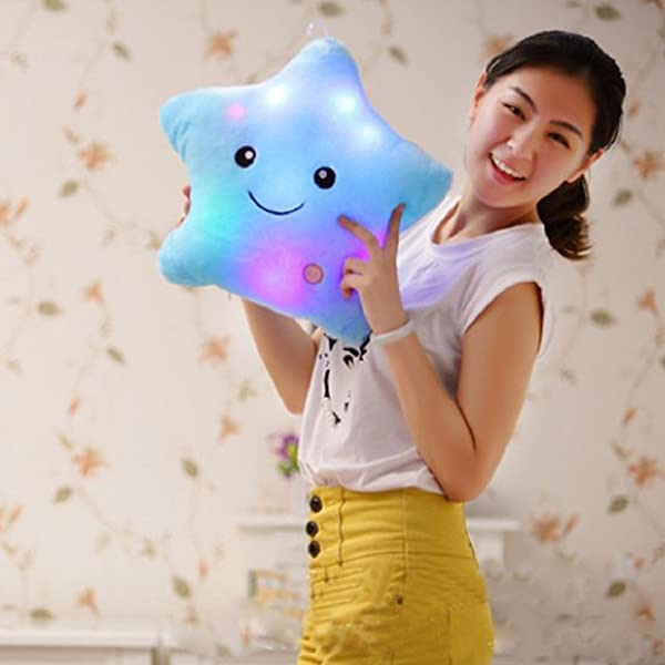 Shensee Star Shaped Glowing LED Pillow 7 Color Changing Light Up Soft Cushion Blue