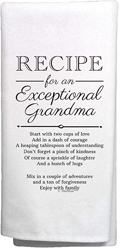 ThisWear Grandma Gifts From Grandkids Recipe For An Exceptional Grandma Kitchen Hand Towel Kitchen Towel White