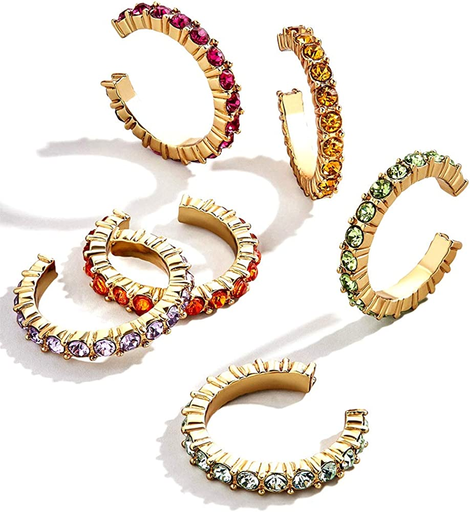 Crystal Clip on Earrings Bohemia C-Shape Ear Cuff No Piercing Ears Wrap Pave Crystal Rhinestone Gold Round Clip Cartilage Statement Earrings for Women Girls Jewelry