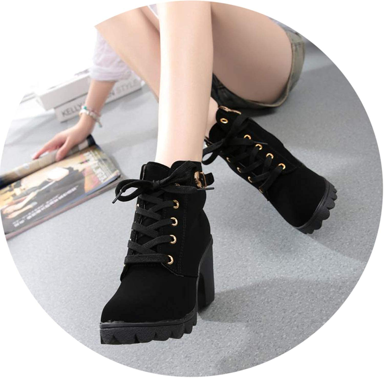 Spring Women's High Heel Lace Up Ankle Boots Buckle Platform shoes Pumps shoes Sapato