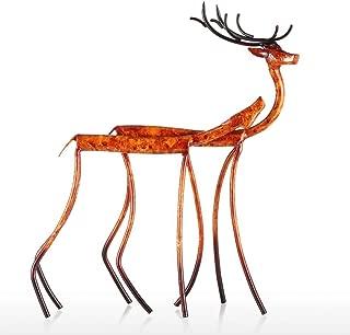 PANRODO Deer Statue Sculptures Metal Iron Ornaments Lifelike Animal Artwork Home Decor Abstract Figurines