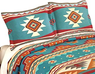 Collections Etc Southwest Cheyenne Aztec Native American Turquoise Fleece Pillow Sham