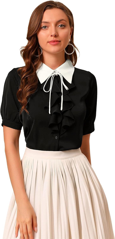 Allegra K Women's Contrast Collar Tie Ruffle Front Button Short Sleeve Work Shirt