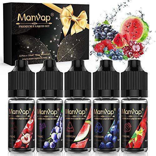 Manvap E Liquid 5 X 10ml Frucht Geschmack 70VG/30PG E Liquids ohne...