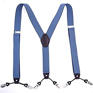 Shirt Garter Blue Jacquard Six Clip Strap Y Back Suspender Men's (Color : Blue)