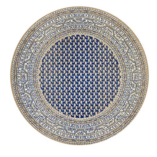 Icole Alfombra redonda de algodón de mandala tejida a mano, para salón, dormitorio, estudio, mesa de café, diámetro de 120 cm