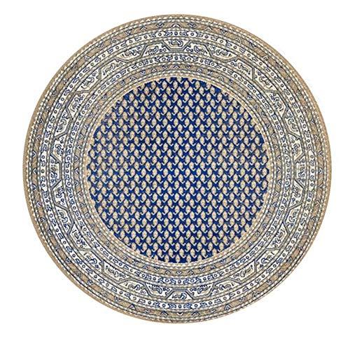 Icole - Alfombra redonda de algodón con mandala tejida a mano (120 cm de diámetro)