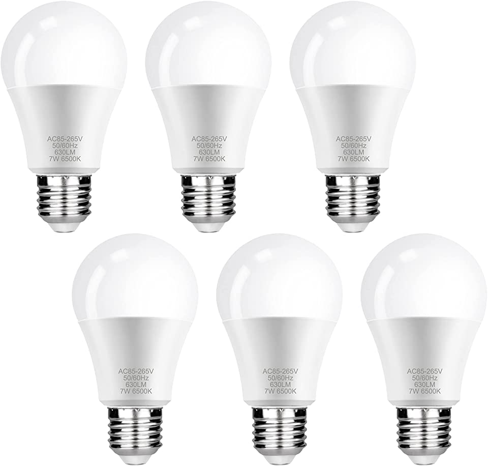 E27 LED Lampe, FAUETI Led Leuchtmittel 7W (ersetzt 40W), Kaltweiß 6500K, AC85-265V, 630LM, 220°Glühlampe Abstrahlwinkel, 6er-Pack [Energieklasse A+]