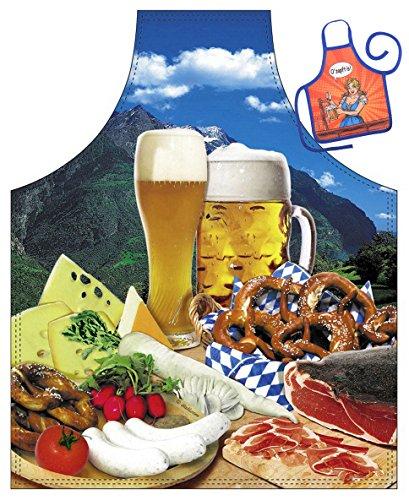 Goodman Design  Witzige Schürze mit Motiv - Bayerische Brotzeit, Bier, Weißwurst, Breze - Grillschürze, Kochschürze, Backen, Geschenk, Geburtstag - Mit Mini Schürze