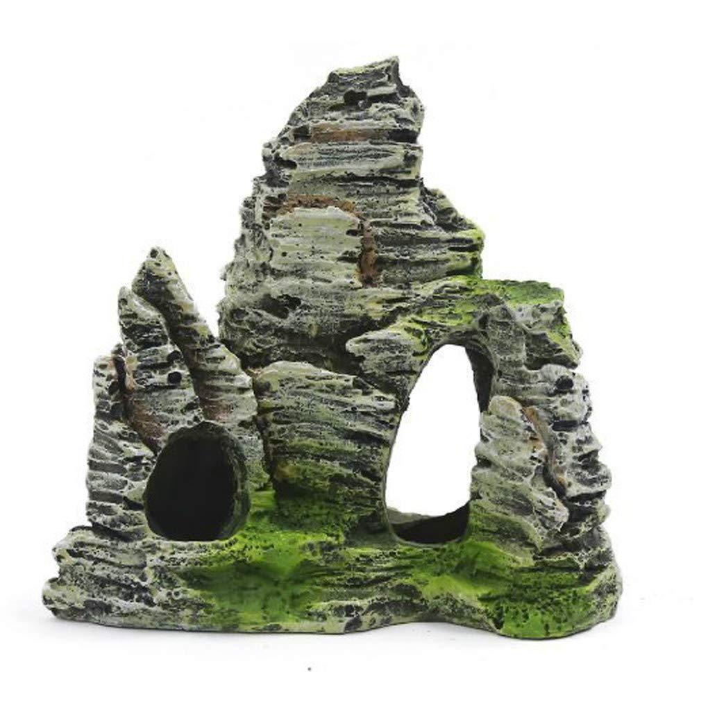 Kongnijiwa Mountain View Acuario de rocalla Cueva escondite del árbol del Ornamento del Acuario: Amazon.es: Hogar