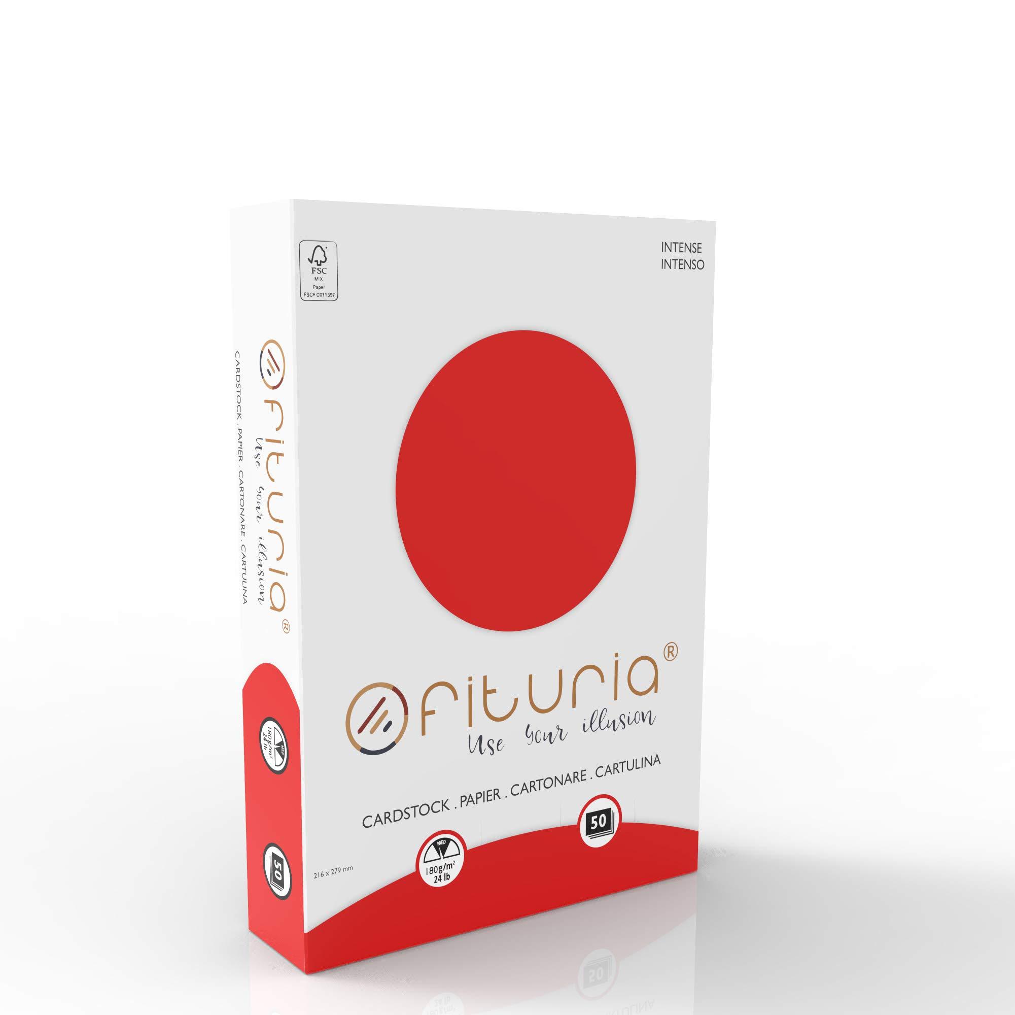 OFITURIA Pack 50 Cartulinas Color Rojo Tamaño A4 180g: Amazon.es: Oficina y papelería
