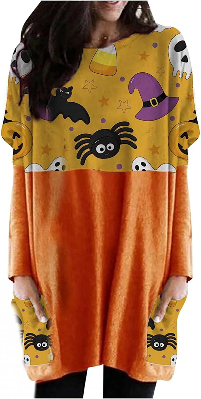 UOCUFY Halloween Sweatshirt for Women, Womens Pumpkin Print Casual Long Sleeve Tunic Tops Oversized Shirts with Pocket