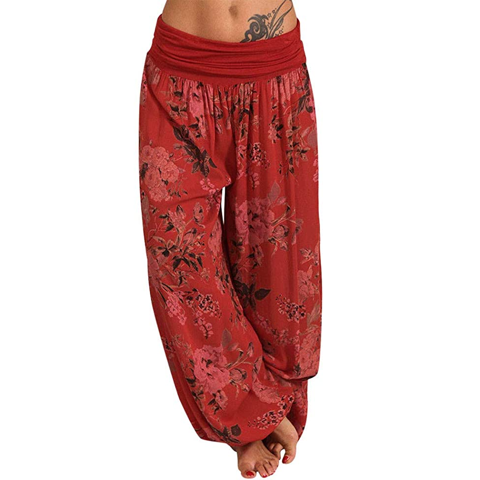 Womens Harem Pants Boho Fold Over Shirred Elastic Waist Baggy Pant Stretch Wide Leg Tapered Trousers Patchwork Hippie Yoga Summer Casual 2019
