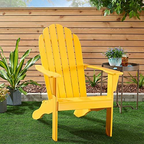 Adirondack Mainstays Wooden Outdoor Chair (Yellow Finish)