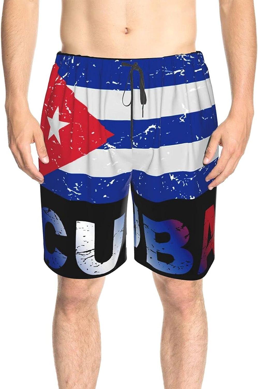 JINJUELS Men's Swim Shorts Cuba Flag Swim Short Boardshort Quick Dry Cool Swimwear Bathing Suits with Mesh Lining