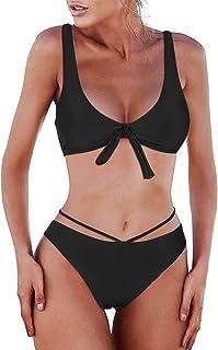 BMJL Women's Cheeky Bikini Set Two Piece Swimsuit V Neck Bathing Suit Cutout Tie Swimwear