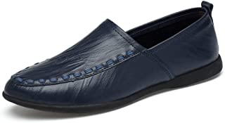 XinQuan Wang Men's Genuine Leather Moccasins Slip on Suede Insole Loafer (Color : Blue, Size : 6.5 UK)