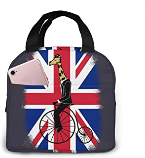 QBahoe Insulated Lunch Tote Union Jack Penny Farthing Giraffe British Flag Reusable Lunch Bag Picnic School Lunch Box for ...