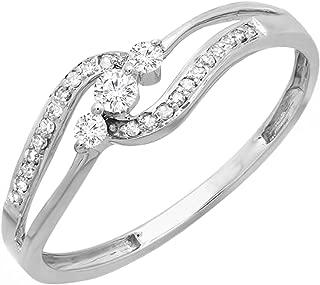 0.20 Carat (ctw) 10k Round Diamond Ladies 3 stone Engagement Bridal Promise Ring 1/5 CT, White Gold
