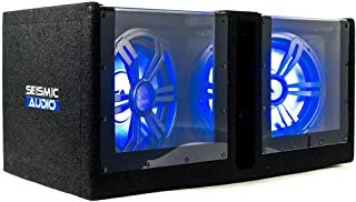 $149 » Seismic Audio - SA-PGSV10LED - Dual 10 Inch Vented 1000 Watt Car Audio Subwoofer Box with LED Lights & Plexiglass Window