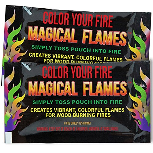Magical Flames Create Colorful & Vibrant Flames for Fire Pit - (10 Pack) - Campfire, Bonfire, Outdoor Fireplace – Magical, Colorful, Rainbow, Mystic – Twice The Color – Half The Price