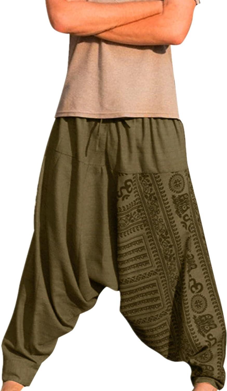 Burband Unisex Harem Pants Hippie Boho Capri Baggy Yoga Pants Gypsy Aladdin Bohemian Beach Pants for Men Women Plus Size
