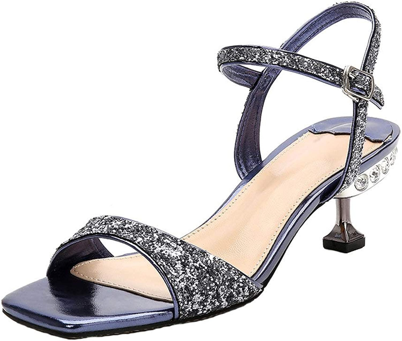 Dreneco Women Kitten Heel Sandals Ankle High Heels Open Toe shoes for Ladies