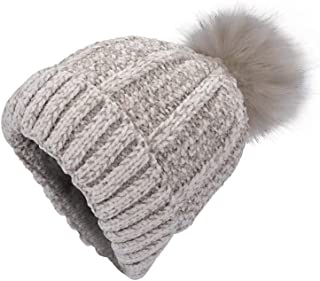 Women Winter Beanie Hats Faux Fur Pom Pom Beanie Hat