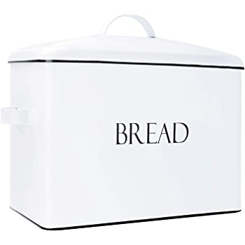 "Outshine Vintage Metal Bread Bin - Countertop Space-Saving, Extra Large, High Capacity Bread Storage Box for your Kitchen - Holds 2+ Loaves 13"" x 10"" x 7""- White with BREAD Lettering (White)"