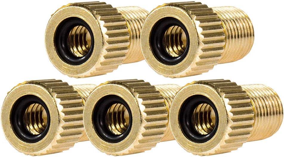 5 Piece Brass Presta Valve Schrader Adaptor Bicycle Mountain Bike Tire Tube Pump