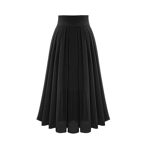 166601cc9a Omela Women Pleated Maxi Skirt High Waist Chiffon Long Skirts A-line