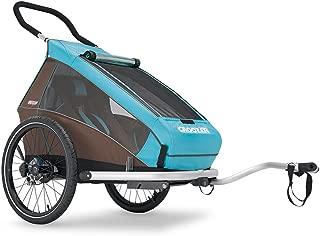 Croozer Premium Multisport Bike Child Trailer/Stoller/Jogger, The Kid Plus for 1 - for One Child - Sky Blue/Brown - Spring Suspension & Aluminum Frame
