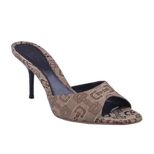 3c4cadb3933 Gucci Women s Brown Peep Open Toe High Heel Mule Shoes